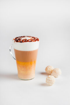 Cafe latte macchiato layered coffee on white background