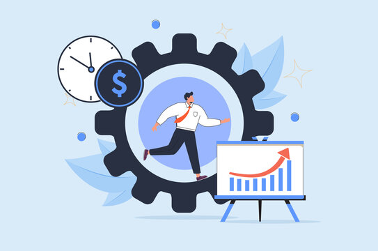 Productivity vector illustration. Job performance flat tiny persons concept. Efficient time and task management strategy