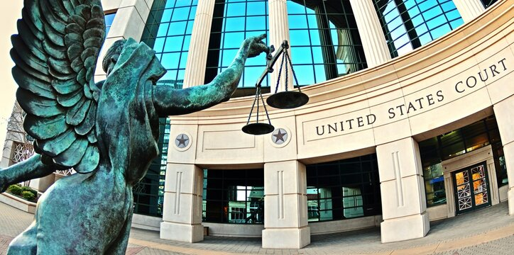 Scales of justice sculpture outside United States Court House in Shreveport Louisiana