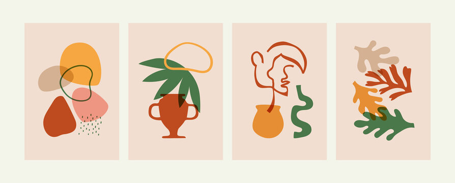 Set of abstract matisse art style composition. Natural summer plants, woman face and organic shapes in soft earth colors. Summer illustration set.