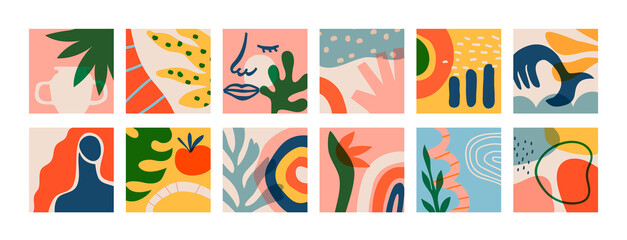 Big set of matisse art greeting cards on isolated background. Natural summer plants and organic shapes collection of woman face, jungle leaf, geometric shape. Abstract summer decoration bundle.