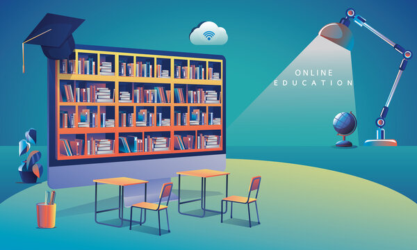 Online Education Application learning worldwide on Computer, mobile website background. social distance concept book lecture pencil. The classroom training course, library Vector Illustration Flat Des