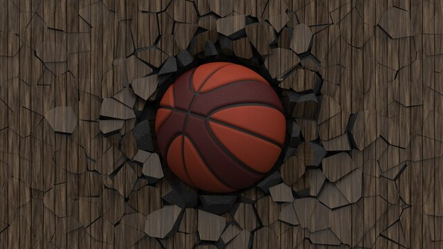 Basketball and Particles. 3D illustration. 3D high quality rendering. 3D CG.