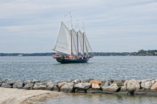 YORKTOWN, VA, UNITED STATES - Oct 21, 2019: Old Vintage Sailboat