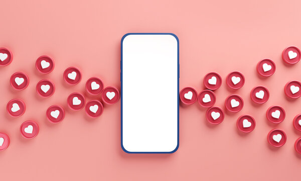 Mobile phone with blank screen on white background with hearts, Love symbol, Valentine day concept. 3d render.