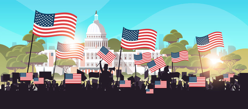 people silhouettes holding placards near white house building USA presidential inauguration day celebration concept cityscape background horizontal vector illustration
