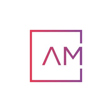 Creative initial letter AM square logo design concept vector