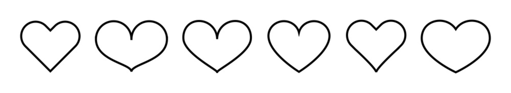 Heart linear icon. Set thin line heart icons isolated. Concept of love. Vector design elements on white background.