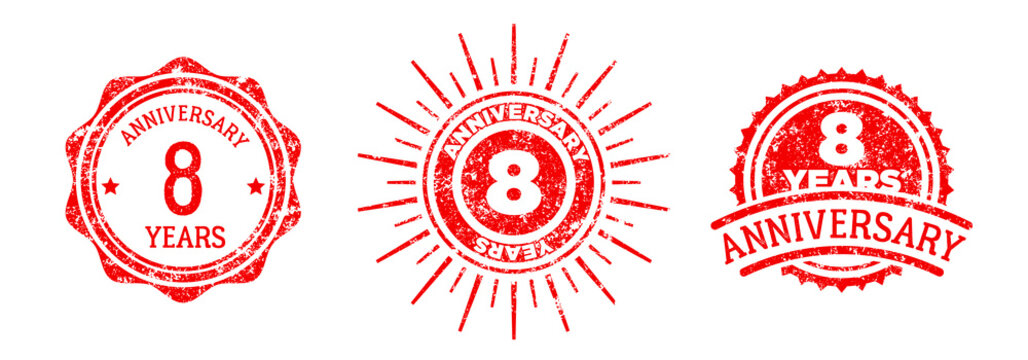 A group of 8 years anniversary logos drawn in the form of stamps, red frames for celebration. Grunge rubber stamp texture. Holiday stamps. Collection of postage stamps. Vector round stamps