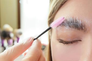 Obraz Beautiful young woman got correction of eyebrows in a beauty salon - fototapety do salonu