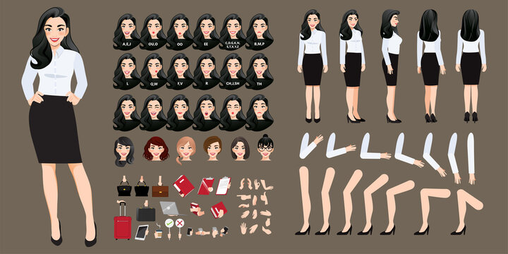 Businesswoman cartoon character creation set with various views, hairstyles, face emotions, lip sync and poses. Parts of body template for design work and animation.