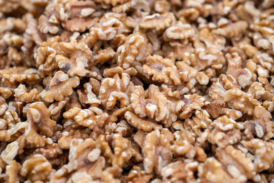 Raw English walnut nuts for sale at the city market