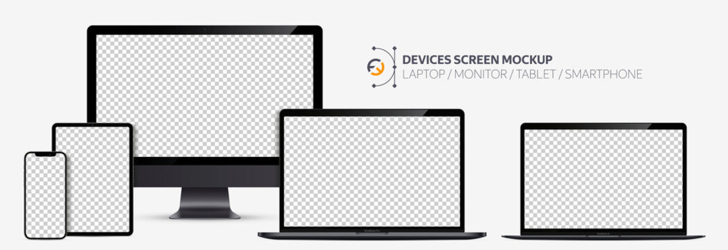 Realistic devices screen mockup. Smartphone, tablet, laptop and display monitor, Black color with blank screen for you design.  Isolated on transparent background. Vector illustration EPS10