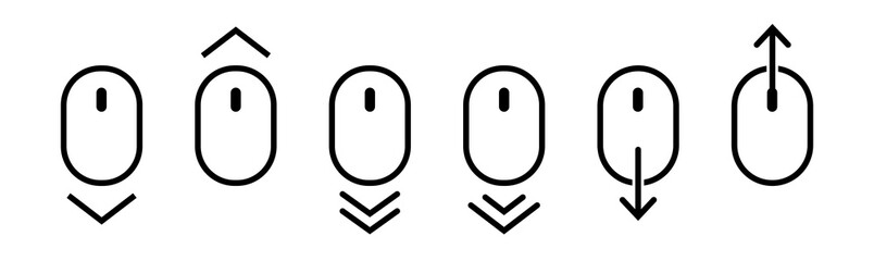 Scroll mouse icon collection. Scroll down and up line icons set. Scrolling outline vector symbol. Vector illustration.