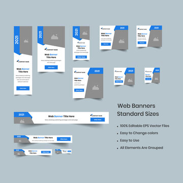 Web set of creative banners of standard size with a place for photos. Business ad banner. Vertical, horizontal and square template. social ad banner vector EPS file