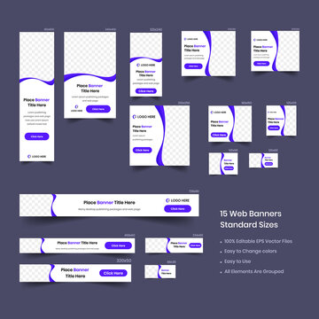 set of web banners of standard sizes with purple elements and a place for photos.
