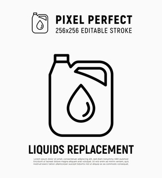 Car service: oil replacement, oil canister thin line icon. Pixel perfect, editable stroke. Modern vector illustration.