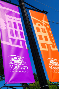 Banners welcome visitors to Madison Indiana