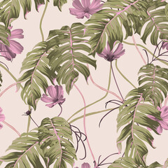 Floral seamless pattern, pink cosmos flowers and split-leaf Philodendron on bright orange