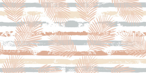 Tropical pattern, palm leaves seamless vector floral background. Exotic plant on beige stripes print illustration. Summer nature jungle print. Leaves of palm tree on paint lines. ink brush strokes