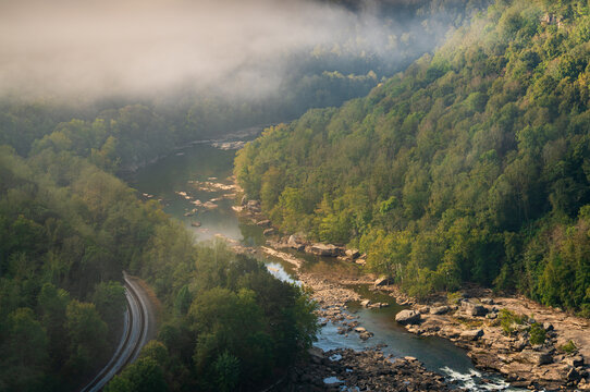 Foggy Morning Overlook of the New River at New River Gorge National Park and Preserve