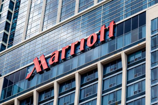 Niagara Falls, Ontario, Canada - September 3, 2019: Sign of Marriott on the building in Niagara Falls, Ontario, Canada. Marriott International is an American hospitality company.