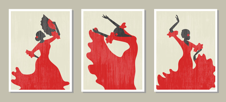 Flamenco dancer vector illustration. Set of posters with dancing Spanish girl.