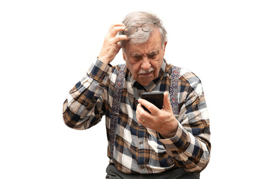 Old grandfather retired with smartphone in trouble with new technology
