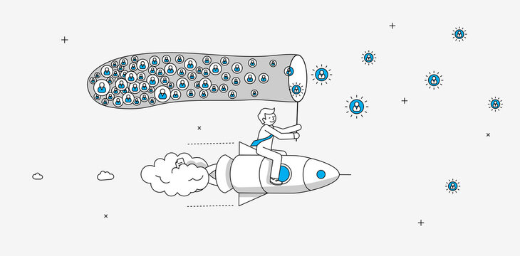 Businessman flying on the rocket catching up new members for his online service. Online startup company infographics. Modern illustration in linear style.