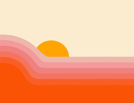 Retro abstract sunset landscape 70's style mid century modern graphic design, pink and red vintage vector illustration, colorful minimal Art Deco gradient striped pattern, fun pretty background
