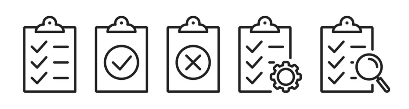 Checklist on the clipboard line icon set with compliance tick check sign on it. Clip board outline vector icon with paper test document or todo plan with tasks. Checkbox form and survey checklist SET1