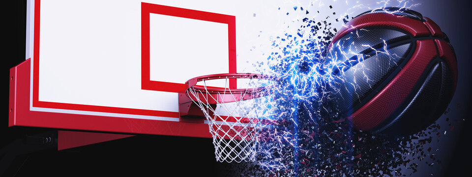 Goal of Basketball and Red-Black Basketball with red particles. Basketball consists of small circles, dots and dance of Electrical Discharge. 3D illustration. 3D high quality rendering.
