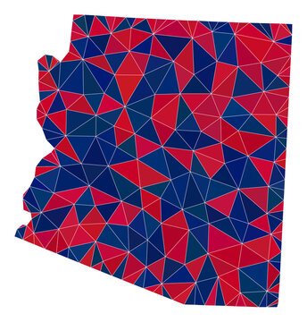 Vector triangle mosaic map of Arizona State in American flag colors, blue and red. Geographic plan in blue and red color hues. Abstract mosaic of map of Arizona State organized of triangle items.