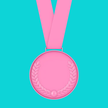 Pink Medal with Laurel Wreath in Duotone Style. 3d Rendering