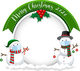 Blank circle banner with Merry Christmas 2020 and snowman wear mask