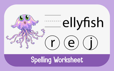 Find missing letter with cute jellyfish