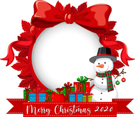 Red ribbon frame with Merry Christmas 2020 font logo and snowman cartoon character