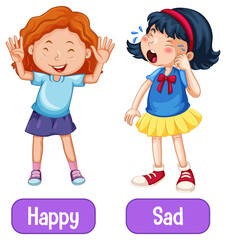 Opposite adjectives words with happy and sad