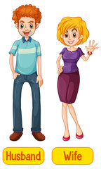 Husband and wife words with cartoon characters on white background