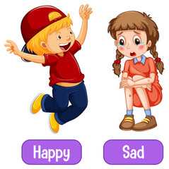 Opposite adjective words with happy and sad