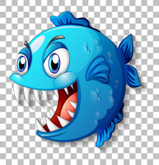 Exotic fish with big eyes cartoon character on transparent background