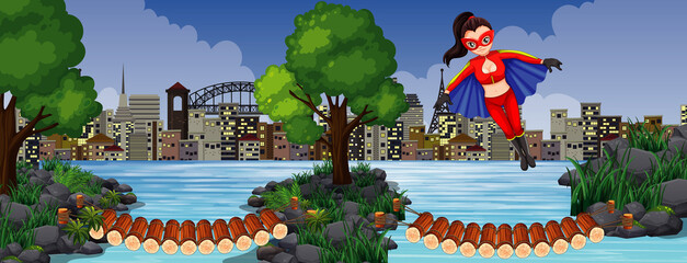 Wooden bridge crossing river with wonder woman