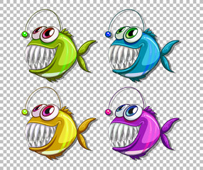 Set of different color angler fish cartoon character on transparent background