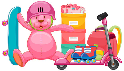 Set of pink toy in cartoon style