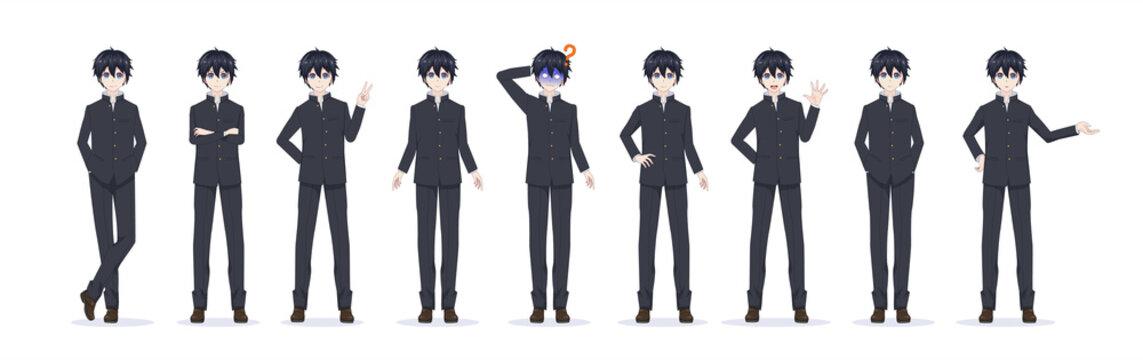 Anime manga boy in black school uniform. Full-length various poses and emotions. Vector illustration