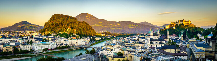 famous old town of Salzburg in Austria