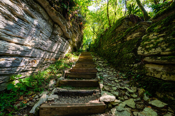 Stone and wooden stairs in mysterious forest. Hiking trail for hiking tours