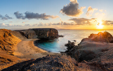 Wall Mural - Landscape with Papagayo beach at sunset, Lanzarote, Canary Islands, Spain
