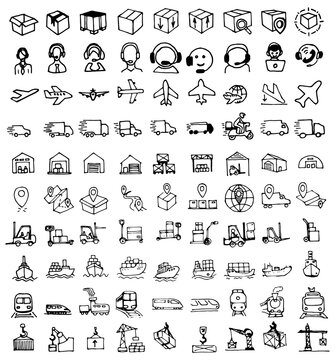 Logistic line icon set, delivery symbols set collection or vector sketches. Hand-drawn style.