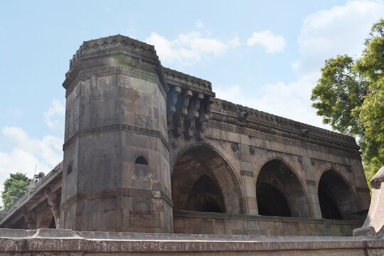 Left side view - The Sidi Saiyyed Mosque in Ahmedabad, Gujarat is a sublime ode in stone to the extraordinary architectural legacy of the African diaspora in India